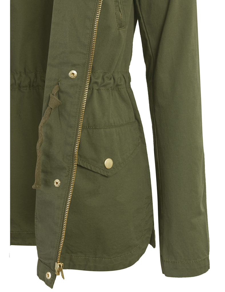 Zip Up Military Anorak Safari Jacket with Hoodie