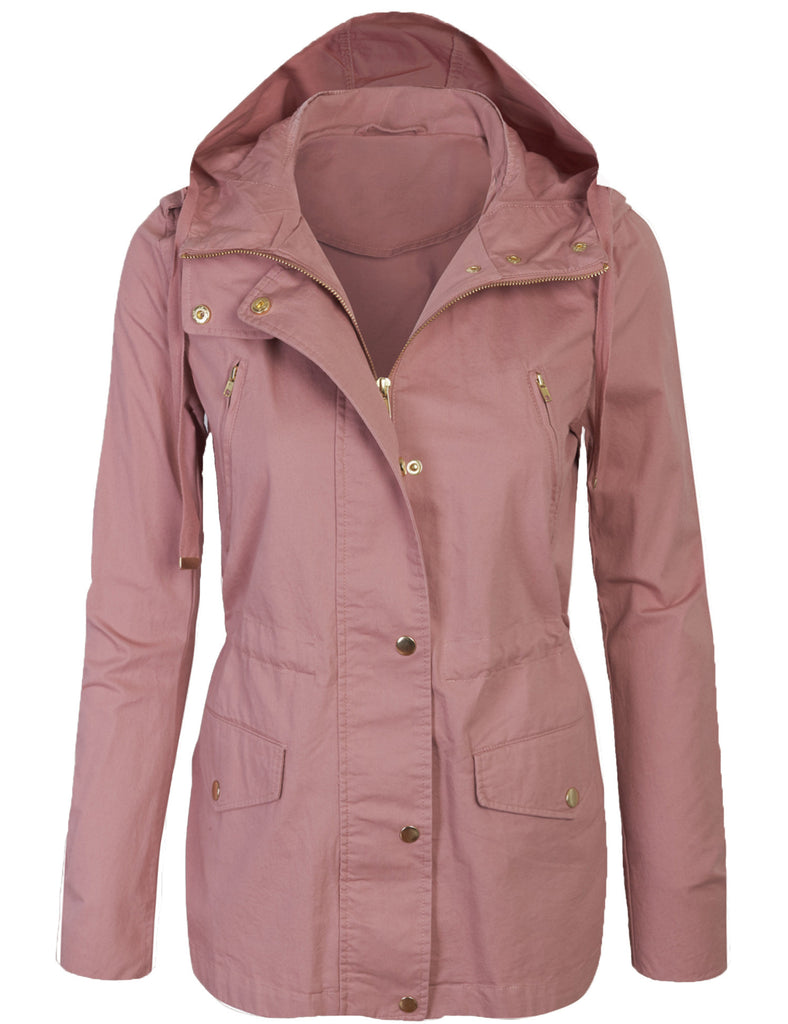 Womens Zip Up Military Anorak Safari Jacket with Hoodie