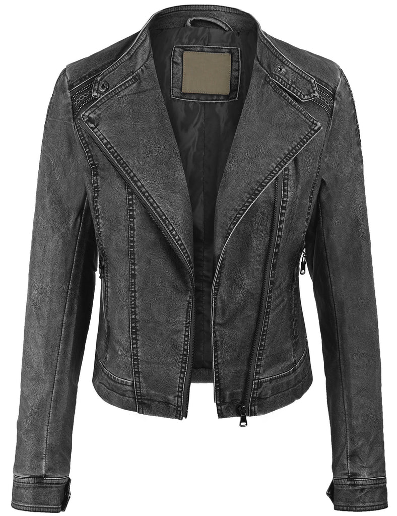 Faux PU Leather Zip Up Everyday Bomber Jacket