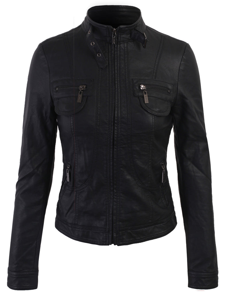 Faux Leather Zip Up Bomber Jacket Fur Lining with Removable Hoodie