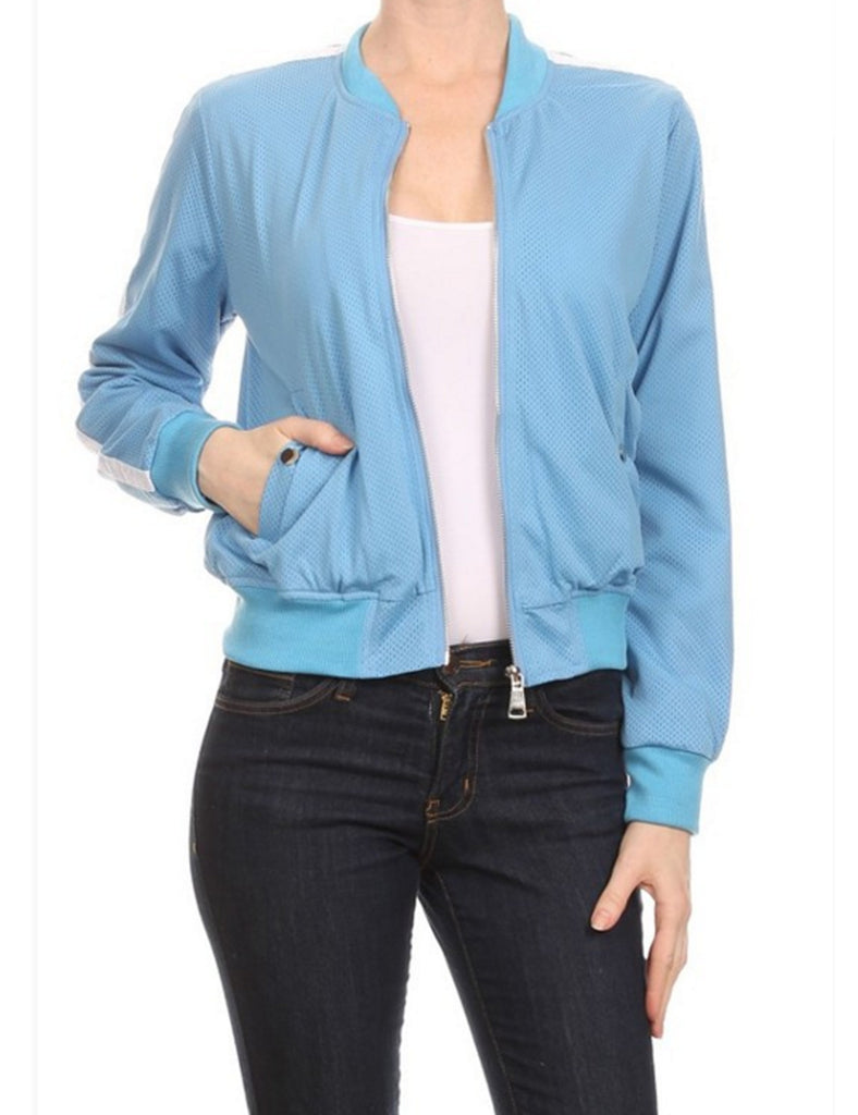 Zip Up Perforated Bomber Jacket with Stripe Detail Sleeve
