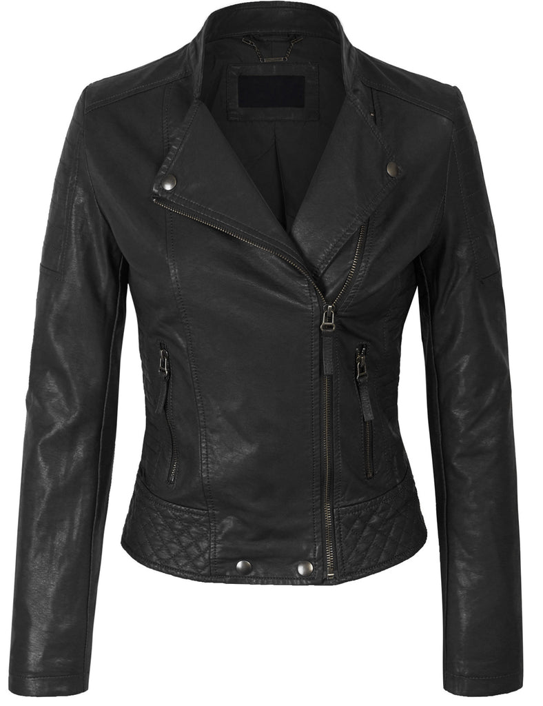 Premium Faux Leather Zip Up Bikers Bomber Jacket