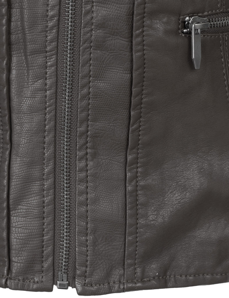 Premium Faux Leather Zip Up Bomber Jacket with detachable hood