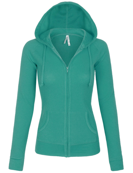 Womens Solid Casual Basic Thermal Zip Up Hoodie Jacket