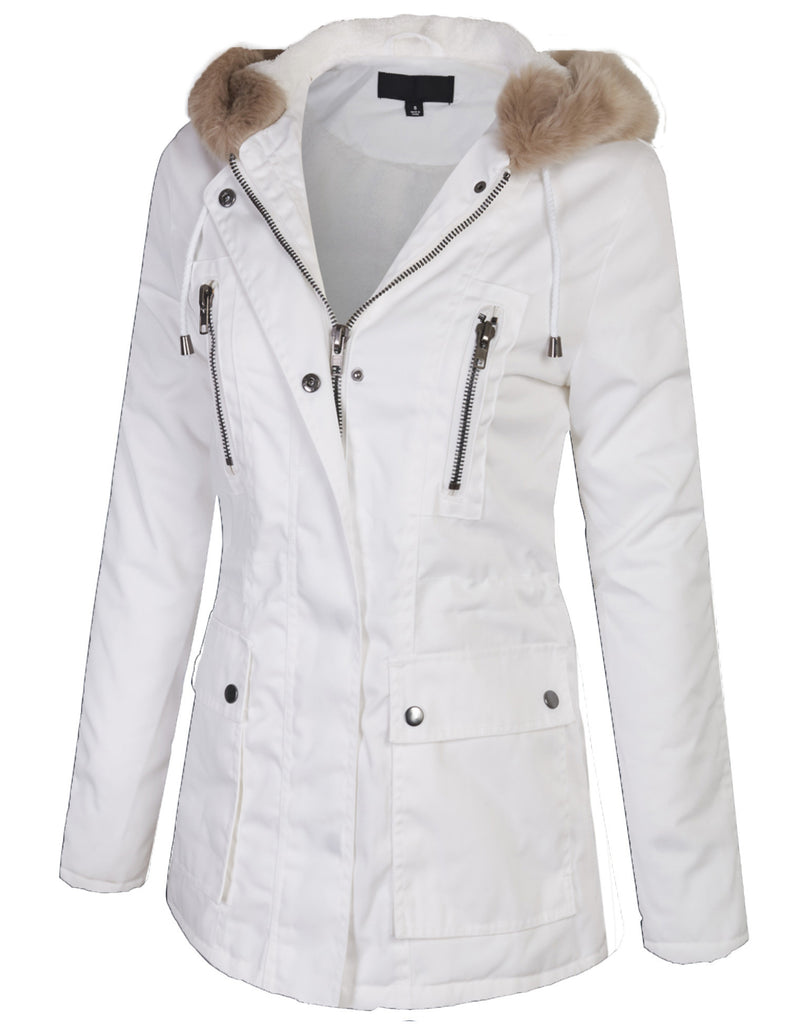 Zip Up Utility Jacket Coat with Faux Fur Lining and Hoodie