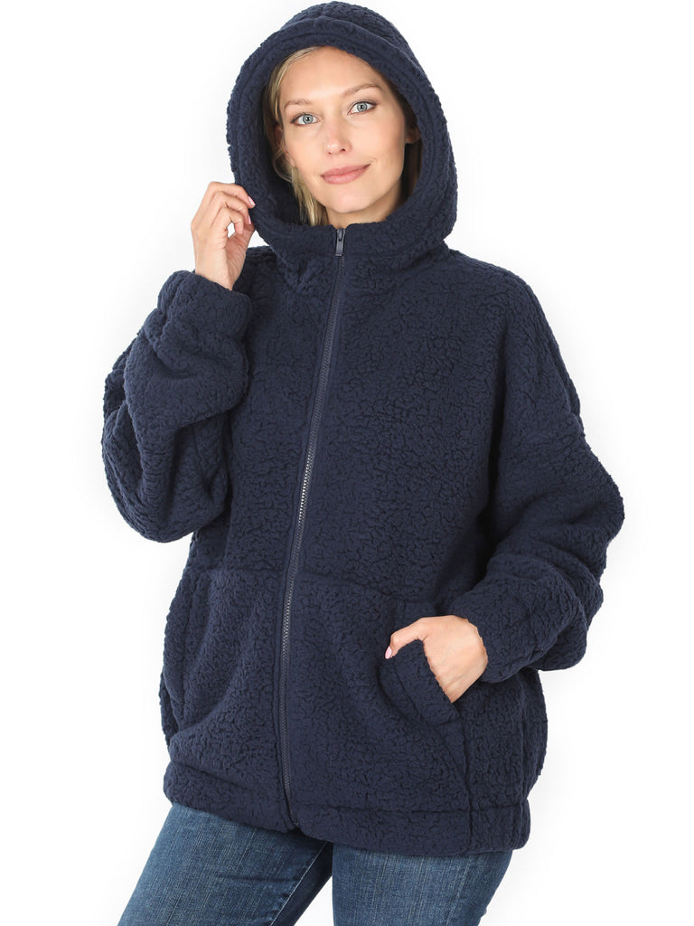 KOGMO Women's Soft Sherpa Zip Up Jacket with Hoodie