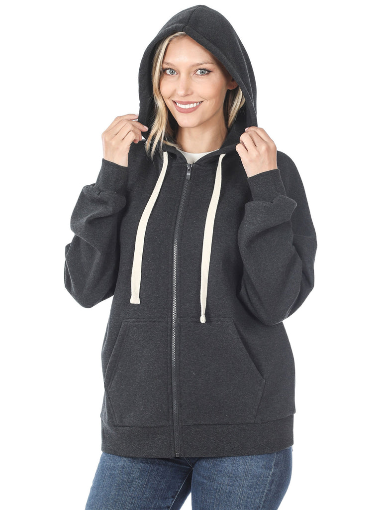 KOGMO Women's Fleece Hoodie Jacket with Kangaroo Pockets