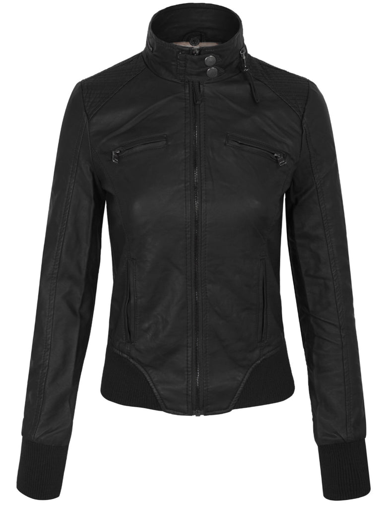 Faux PU Leather Quilted Zip Up Jacket With Removable Fleece Hoodie