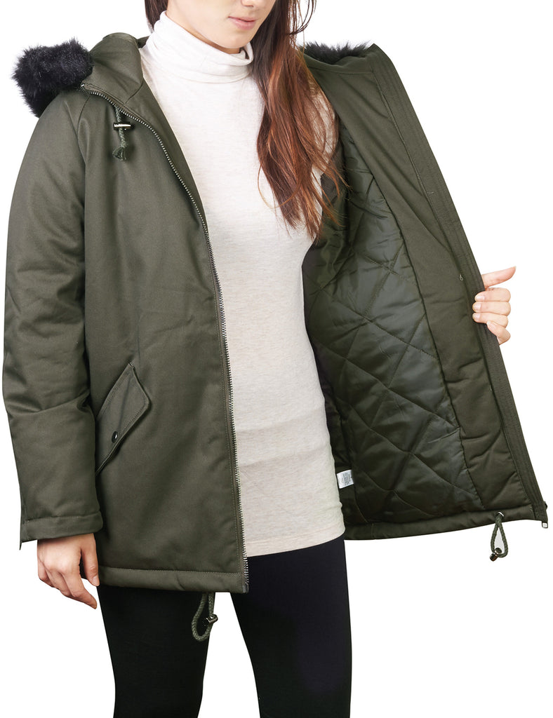 Thick Anorak Down Jacket Parka with Faux Fur Hoodie