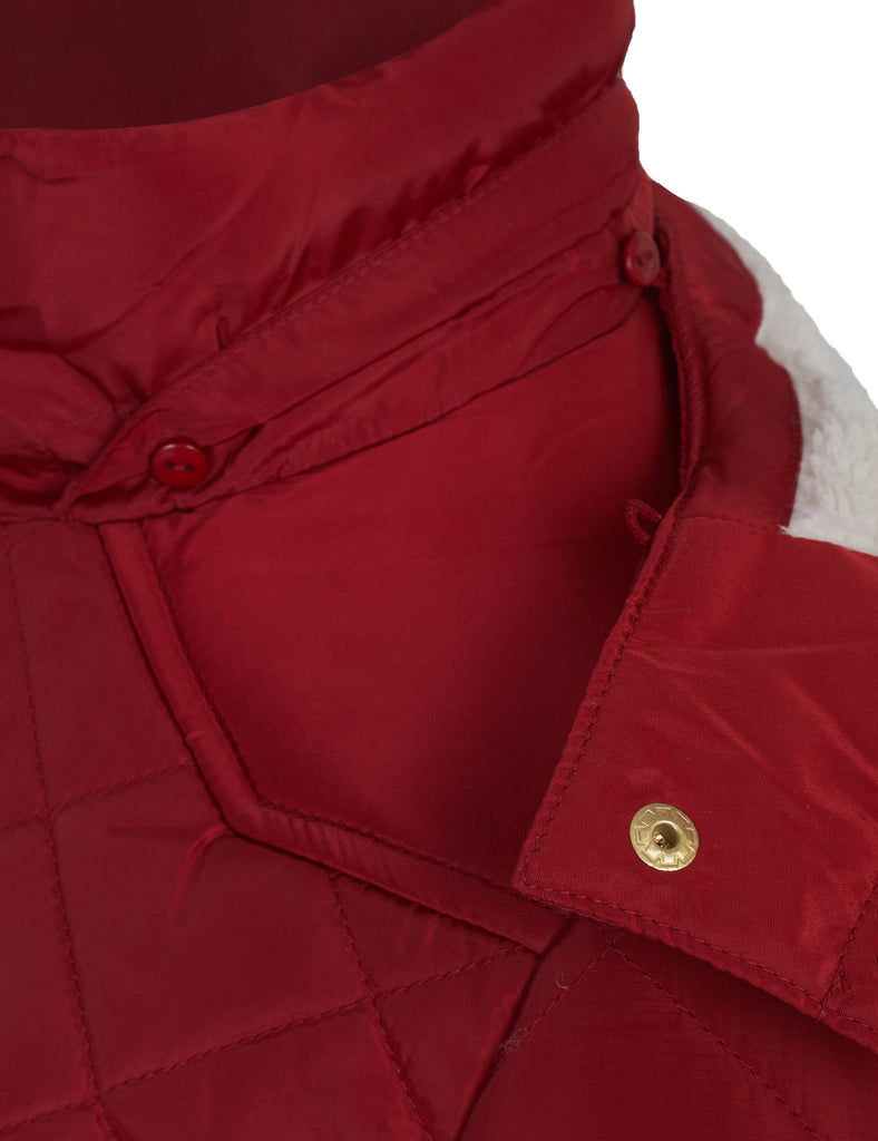 Junior Womens Fur Hooded Quilted Jacket with Patched Elbow
