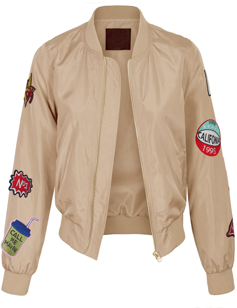 Classic Zip Up Lightweight Patched Bomber Jacket