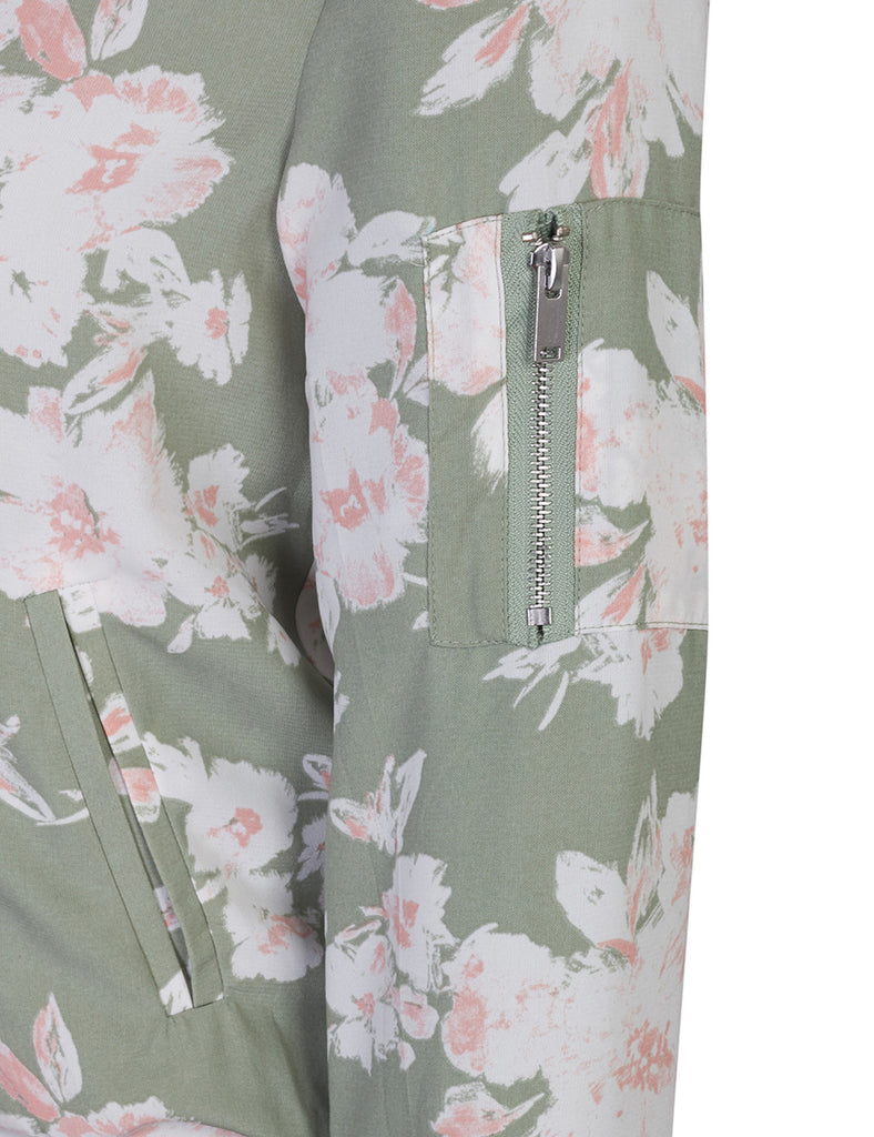 Classic Zip Up Lightweight Floral Printed Bomber Jacket