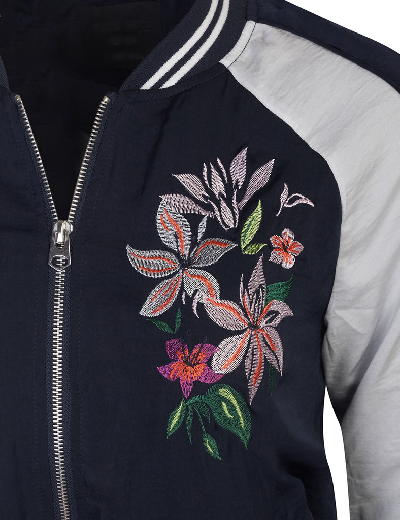Classic Zip Up Lightweight Embroidery Bomber Jacket