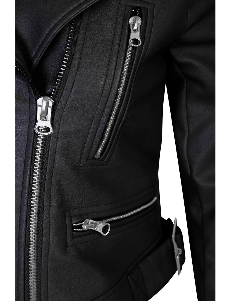 Double Breasted Faux Leather Zip Up  Jacket