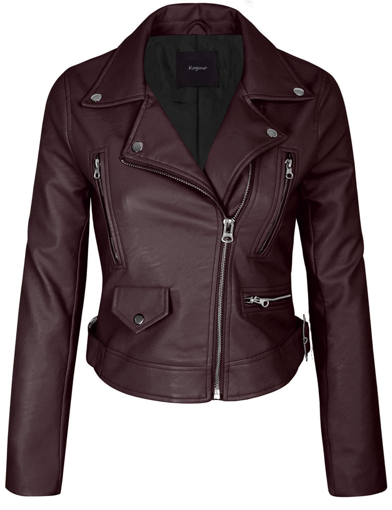 Women's Double Breasted Faux Leather Zip Up  Jacket