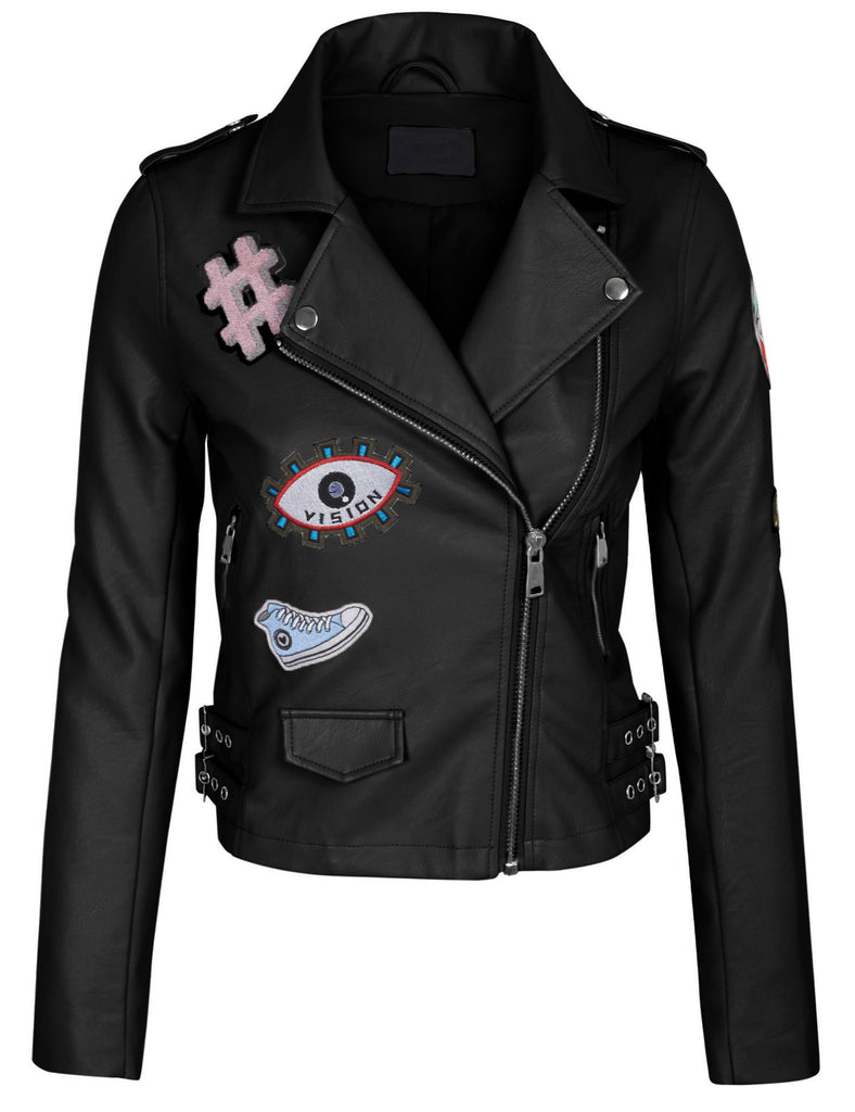 Double Breasted Faux Leather Zip Up  Jacket with Patches