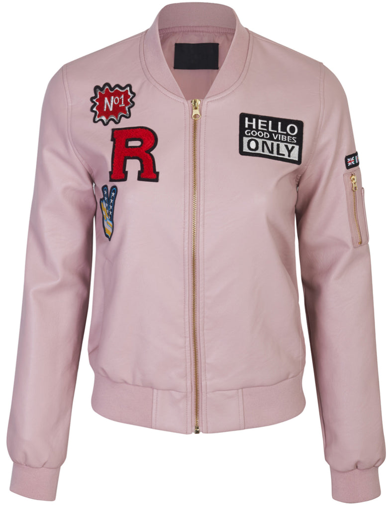 PU Bomber Wind Breaker Jacket with patches
