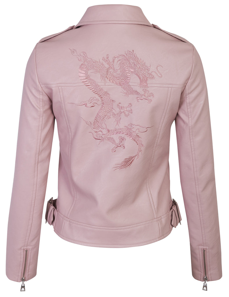 Double Breasted Faux Leather Jacket with Dragon Embroidery