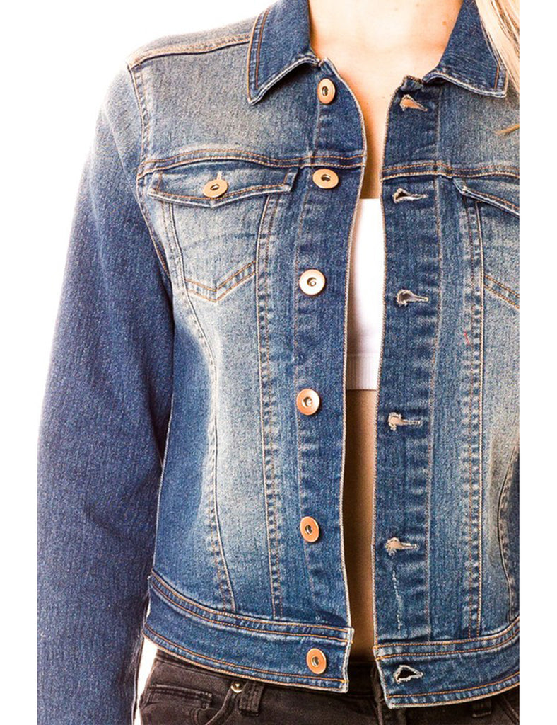 Women's Classic Long Sleeve Cropped Basic Denim Jacket