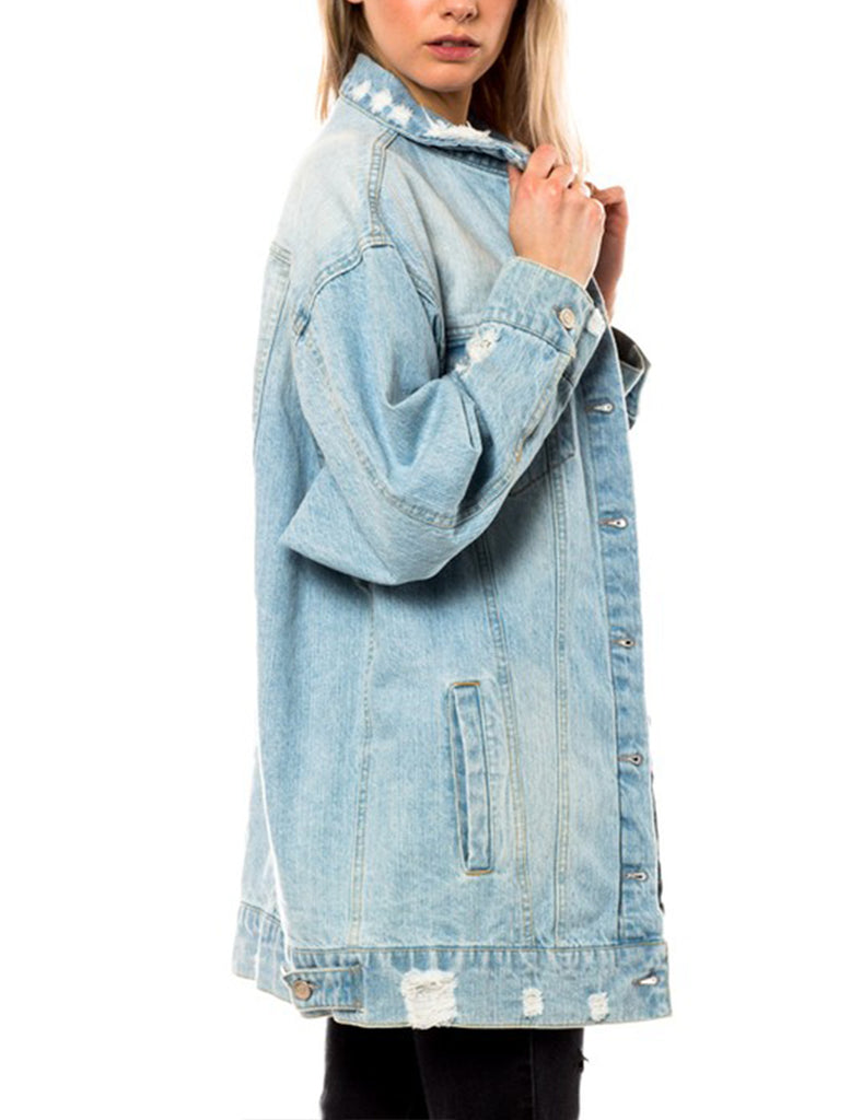 Women's Distressed Boyfriend Denim Jacket Loose Fit