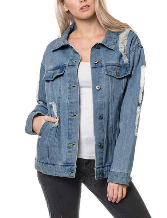 ab2cd66251 Women s Distressed Boyfreind Denim Jacket Loose Fit with Inner Pockets