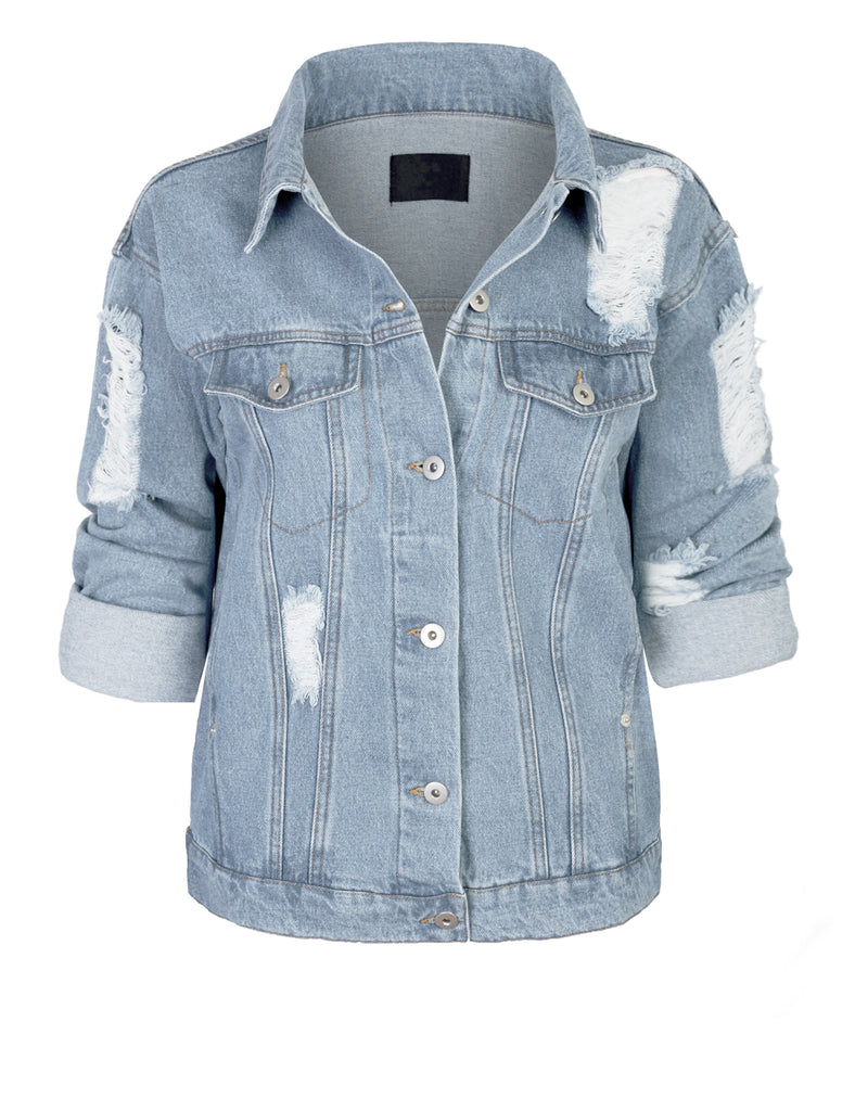 Women's Distressed Boyfreind Denim Jacket Loose Fit with Inner Pockets