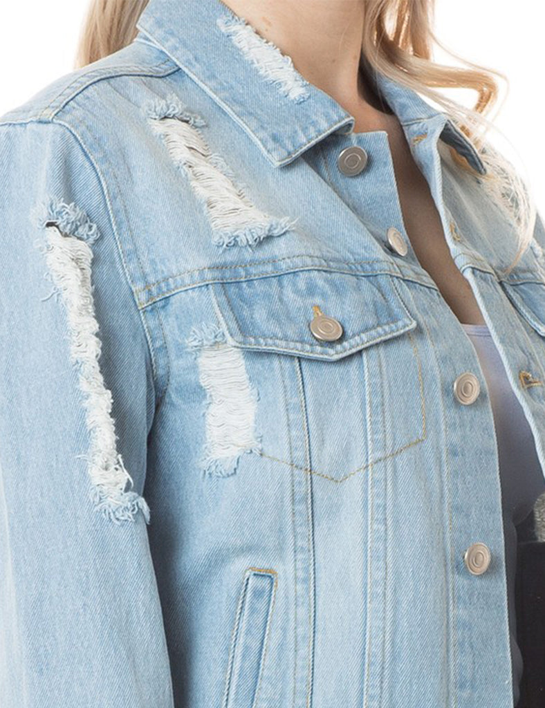 Women's Long Sleeve Washed Distressed Denim Jacket