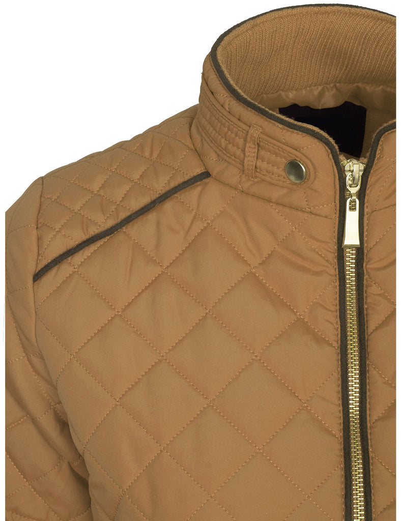 Womens Quilted Fully Lined Lightweight Zip Up Jacket S-3X