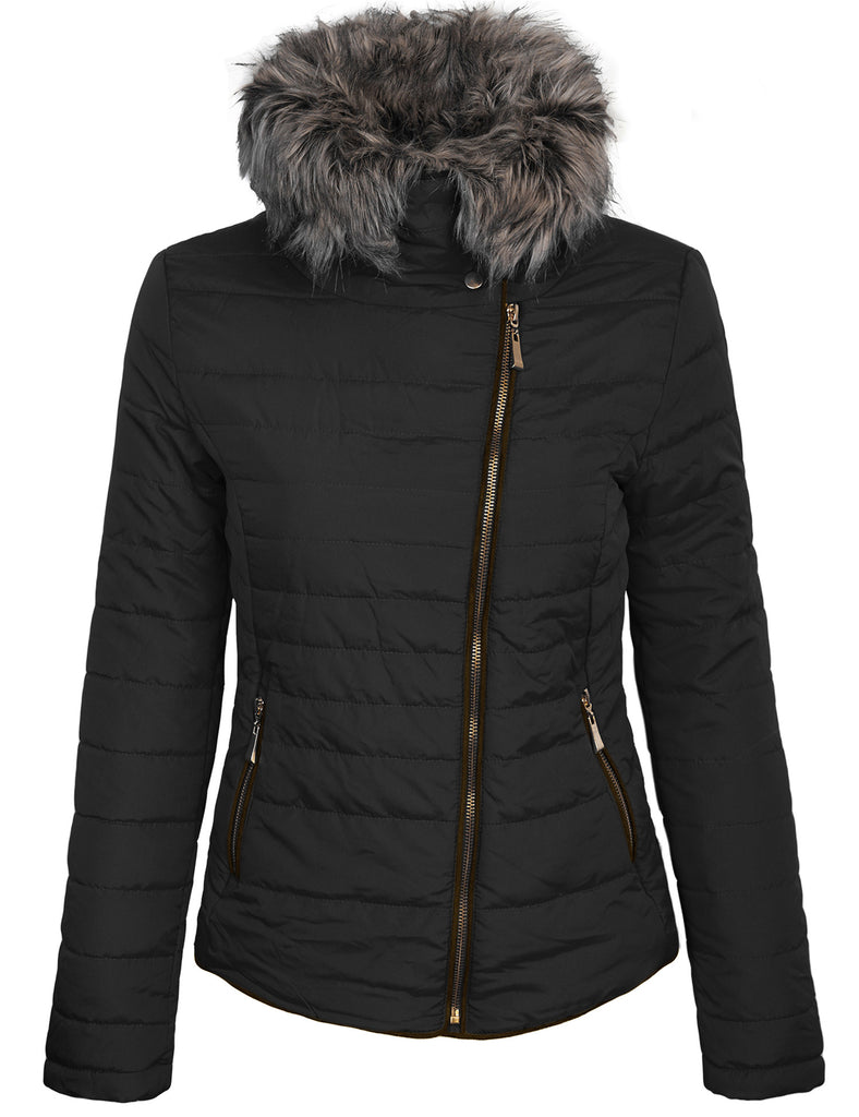 Womens Fully Lined Lightweight Zip Up Padding Jacket with Detachable Fur Collar