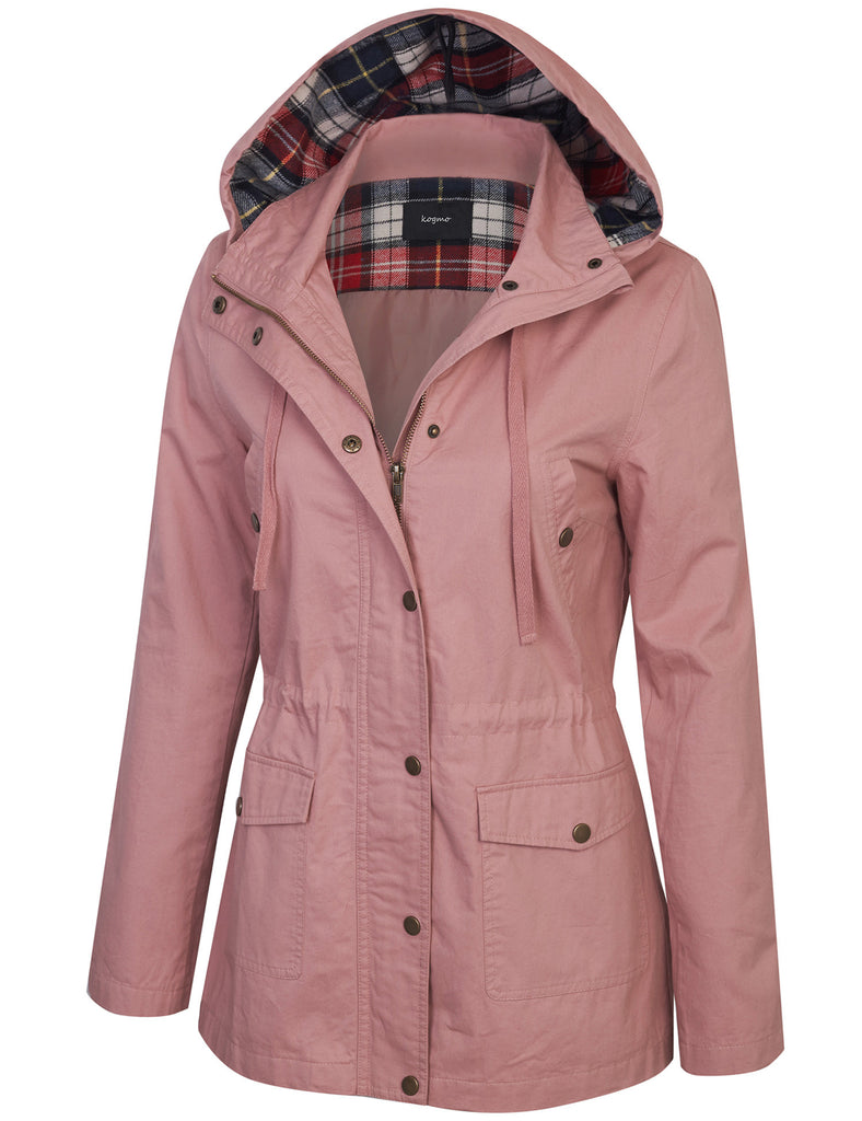 Womens Zip Up Anorak Safari Jacket with Checker Lining Hoodie