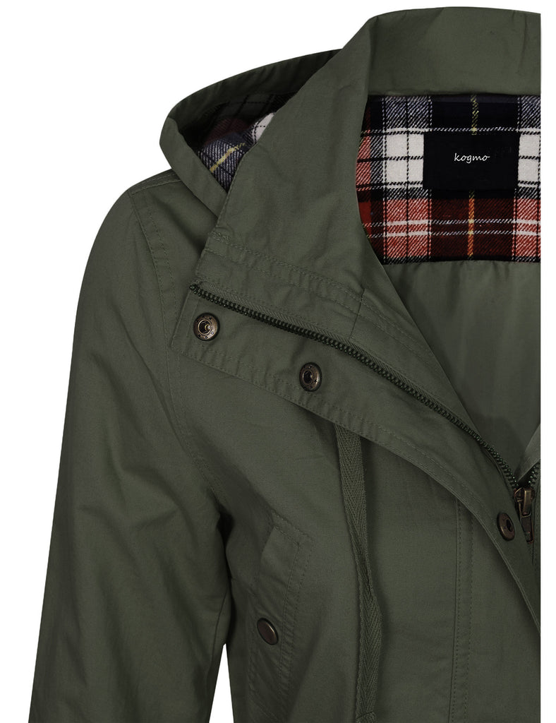 [SALE] Womens Zip Up Anorak Safari Jacket with Checker Lining Hoodie