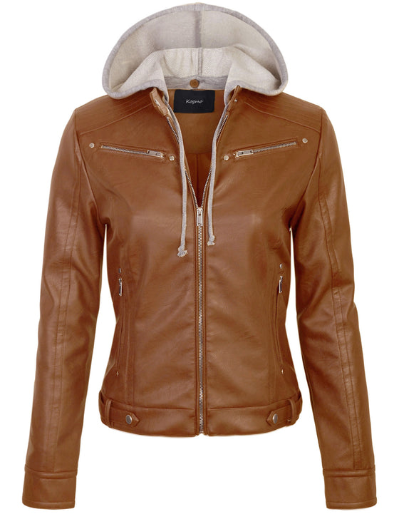 Womens Faux PU Leather Zip Up Casual MOTO Jacket with Hoodie