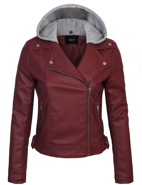 Womens Faux PU Leather Zip Up Double Breast MOTO Jacket with Hoodie