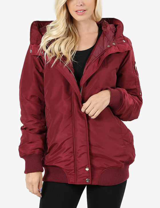 Womens Long Padded Bomber Jacket with Hoodie