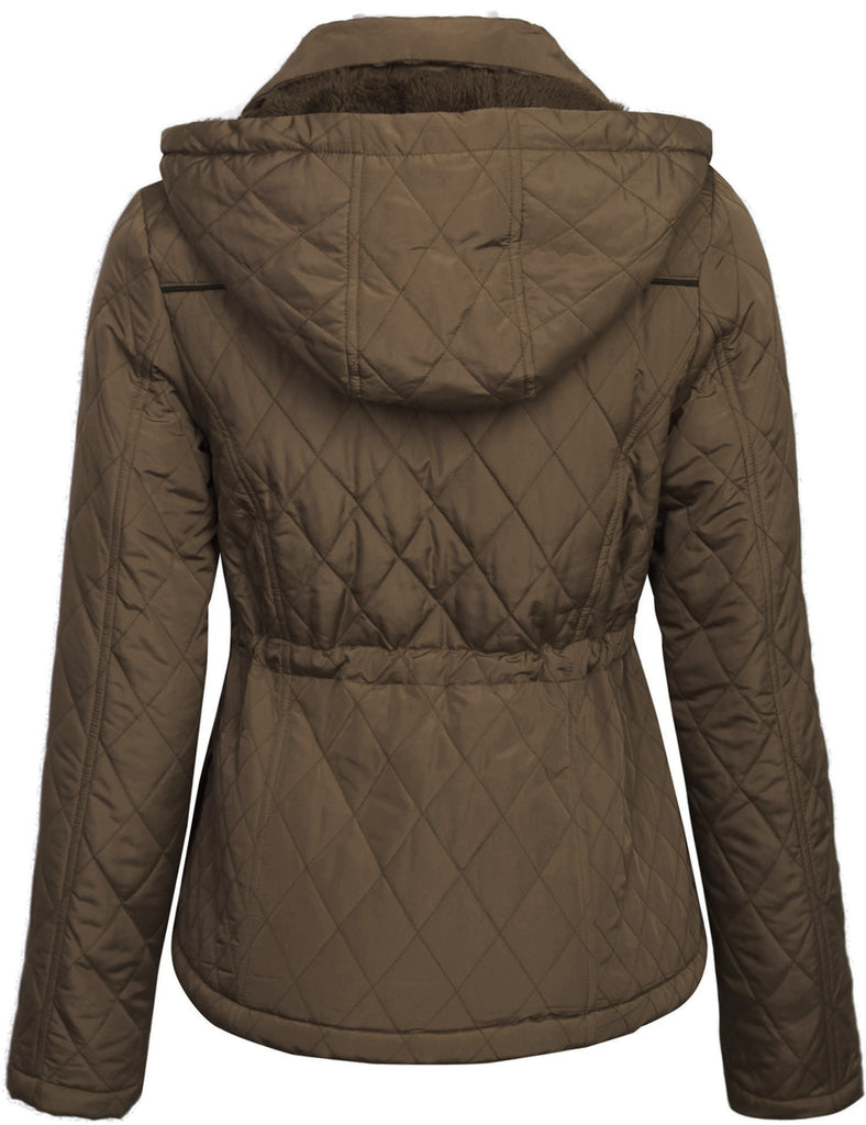 Womens Fur Lined Lightweight Zip Up Quilted Jacket with Detachable Hood
