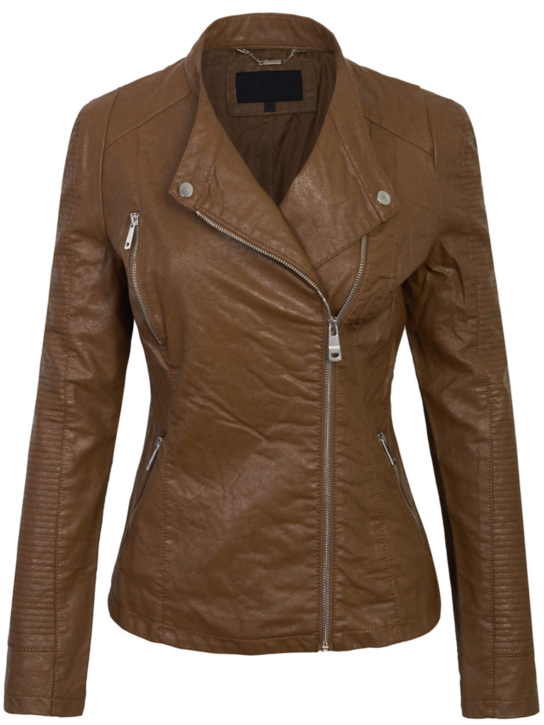 KOGMO Womens Double Breasted Vintage PU Faux Leather Zip Up Jacket (XS-L)