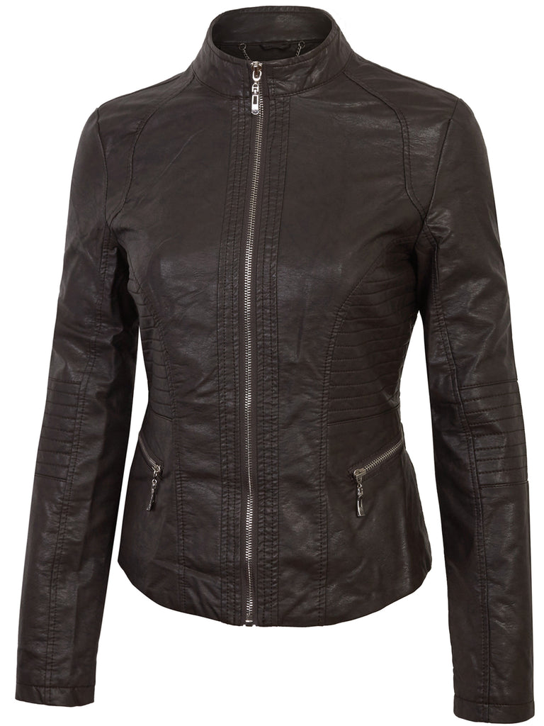 KOGMO Womens MOTO Zip Up PU Faux Leather Jacket (XS-L)