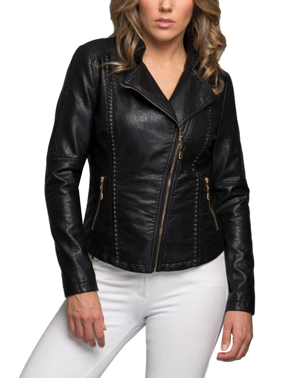 KOGMO Womens Double Breasted MOTO Zip Up PU Faux Leather Jacket
