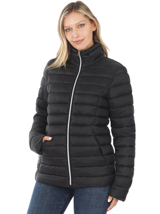 KOGMO Women's Lightweight Padding Puffer Jacket with Removable Hoodie