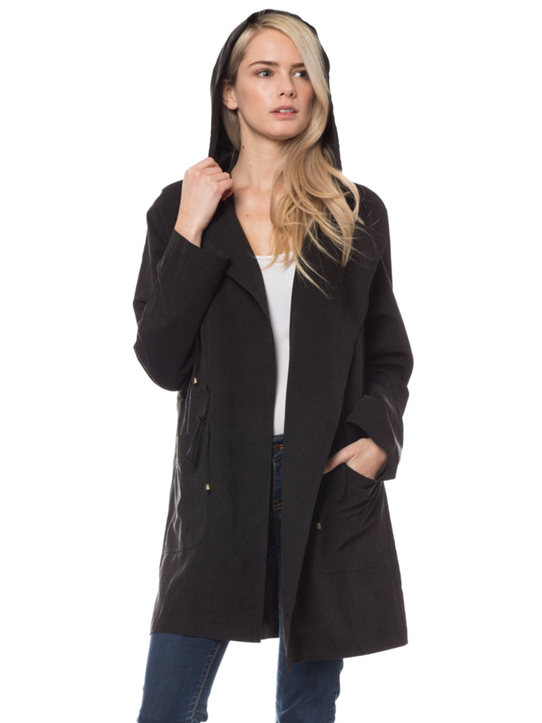 KOGMO Women's Open Front Trench Coat Jacket with Hoodie