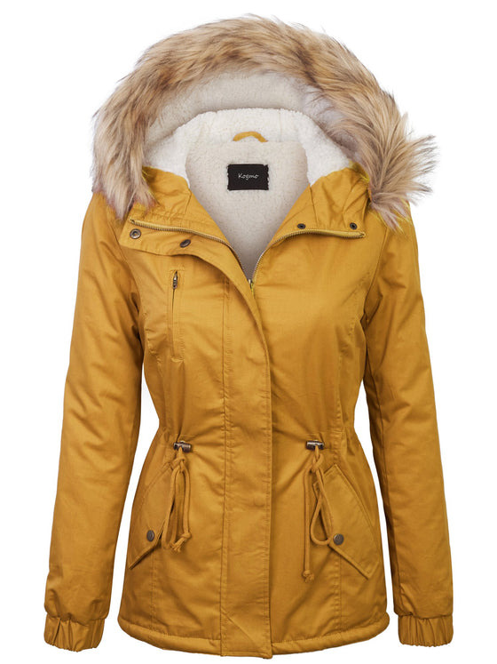 [Clearance] KOGMO Women's Sherpa Lined Zip Up Anorak Jacket Parka with Fur Hoodie