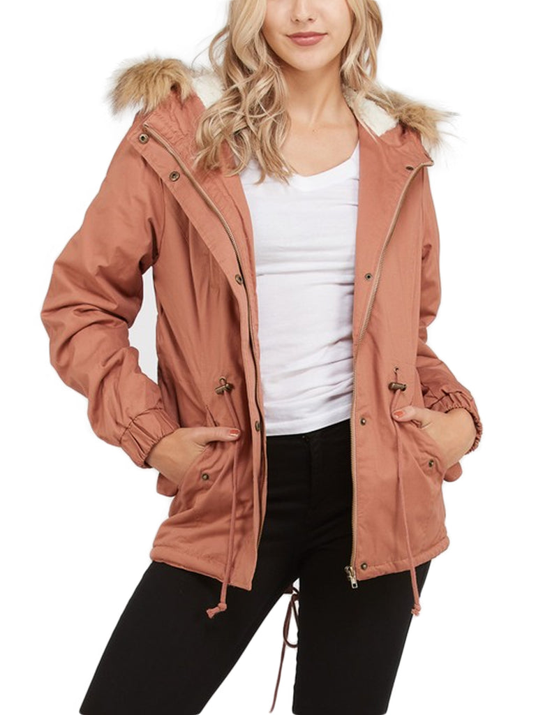 KOGMO Women's Sherpa Lined Zip Up Anorak Jacket Parka with Fur Hoodie