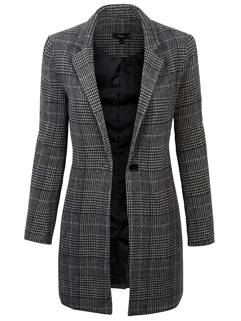 KOGMO Womens Long Sleeve Single Button Long Plaid Coat