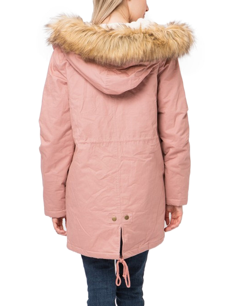 KOGMO Women's Long Anorak Coat Fur Trim Hoodie Jacket with Fuax Fur Lined