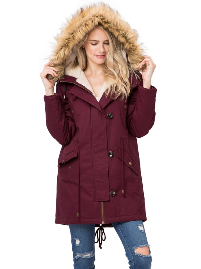<PRE-ORDER> KOGMO Women's Long Anorak Coat Fur Trim Hoodie Jacket with Fuax Fur Lined