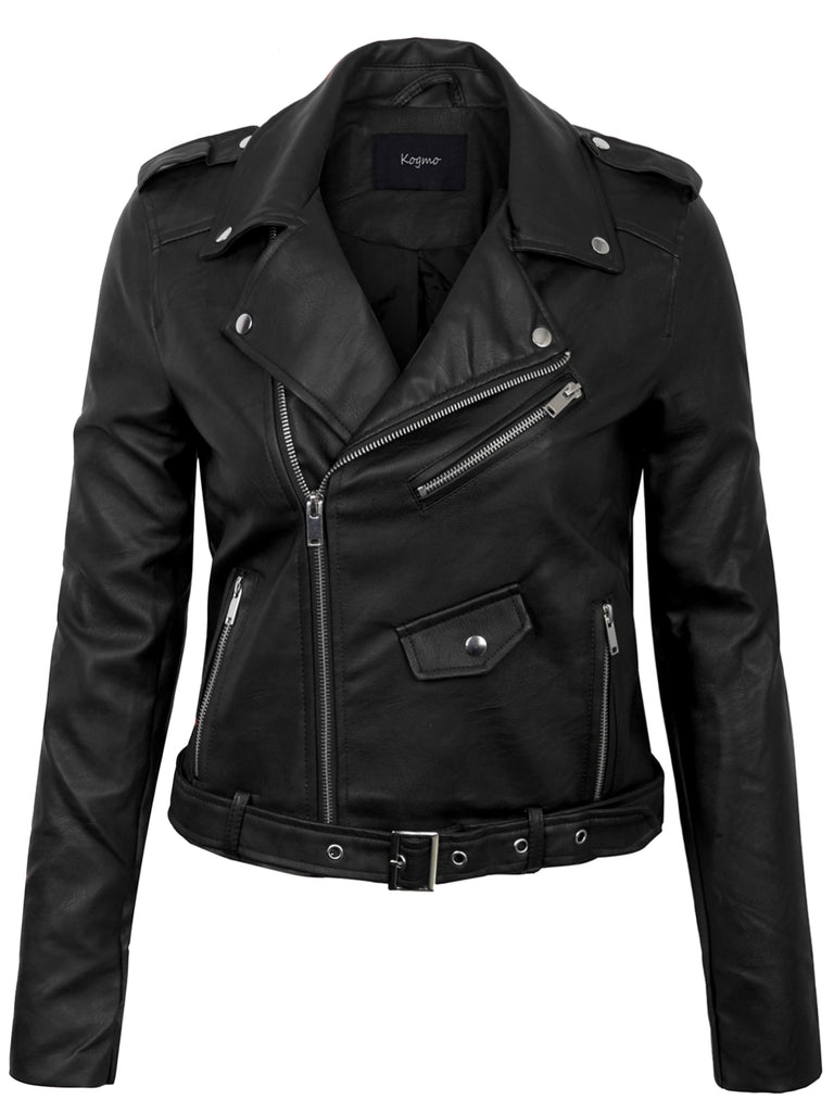KOGMO Womens Double Breasted Faux Leather Zip Up  Jacket with Belt