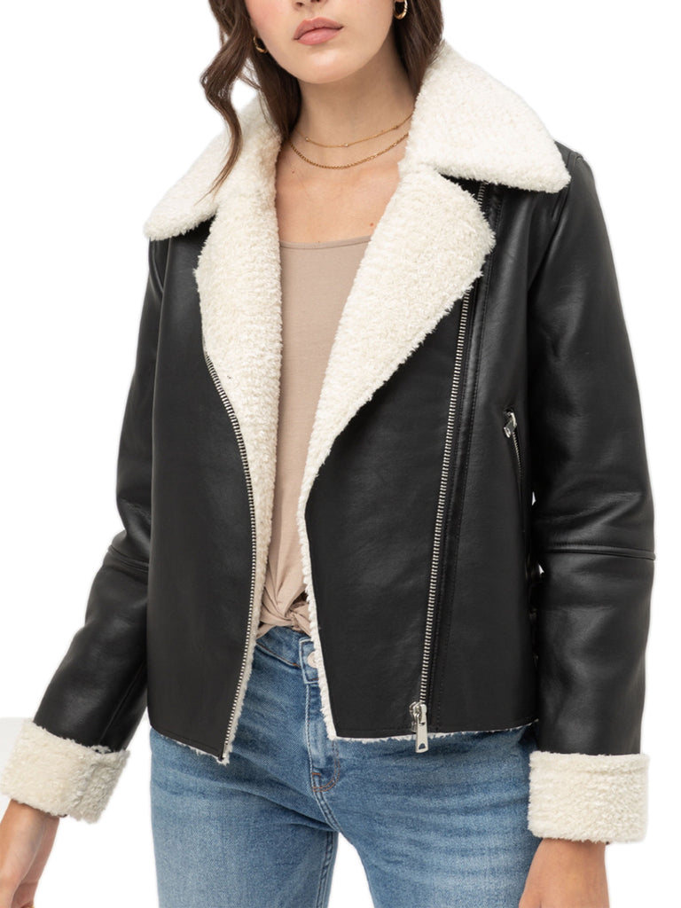 KOGMO Women's Double Breasted PU Leather Fur Lined Zip Up  Jacket