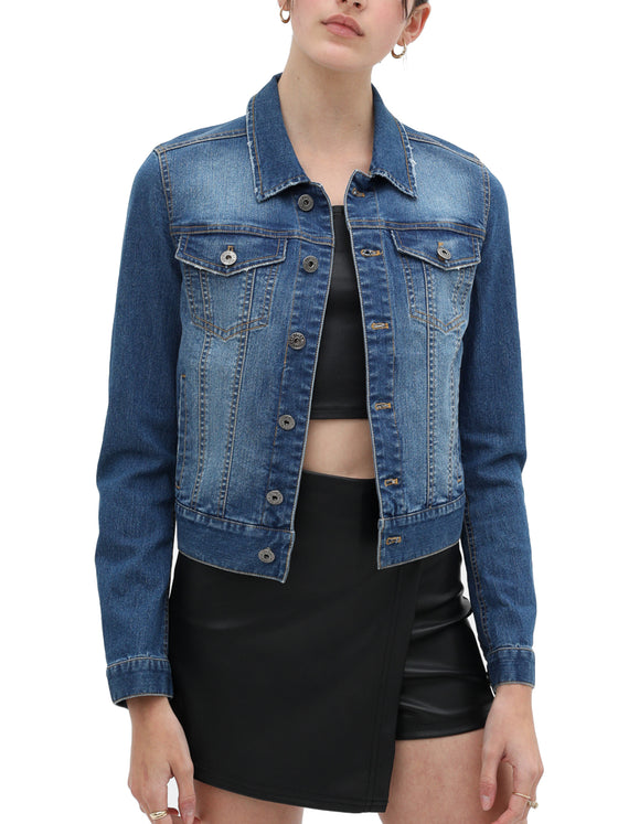 KOGMO Women's Vintage Stretchy Cotton Denim Jacket with 6 Pockets
