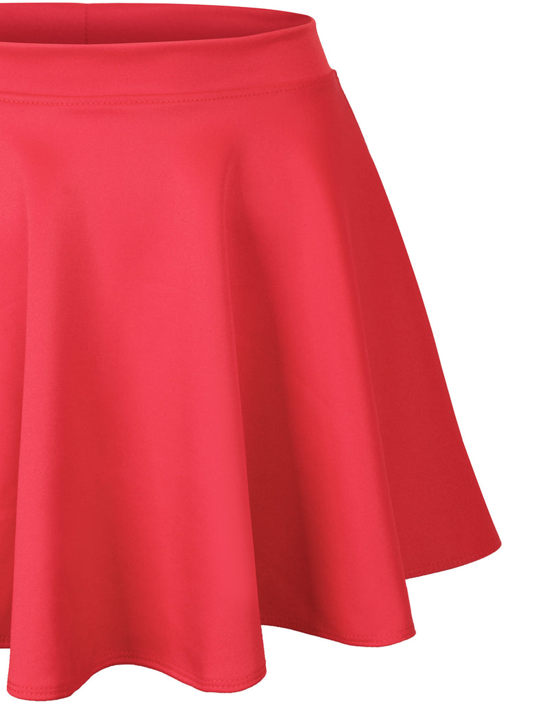 Basic Solid Versatile Stretchy Flared Casual Mini Skater Skirt