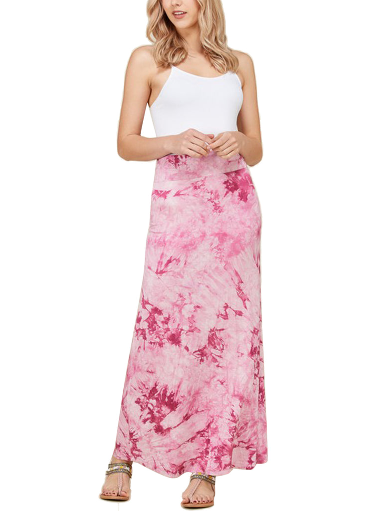 KOGMO Womens Tie Dye Stretchy Comfy Maxi Skirt